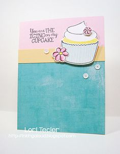The Icing on my Cupcake love card-designed by Lori Tecler/Inking Aloud-stamps, ink, and dies from Avery Elle, ink from Tsukineko, patterned paper from Heidi Swapp, available at http://www.iheartpapers.com