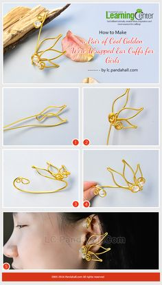 How to Make a Pair of Cool Golden Wire Wrapped Ear Cuffs for Girls from LC.Pandahall.com