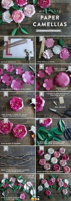 DIY camellias arrangement; though it says metallic, the only metal part is the floral tape wrapped wire for the stems. But what you could do is use a very thin sheet for backing on the flowers like using a pop can.