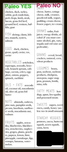 Paleo Diet plan for Beginners: Paleo YES, Paleo NO. Please Repin #carbswitch