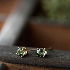 14k gold green tourmaline studs, post earrings, via Etsy.