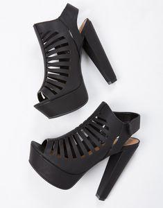 Caged Platform Sandal Heels - Black Platforms - Black Chunky Heels – Shoes – 2020AVE