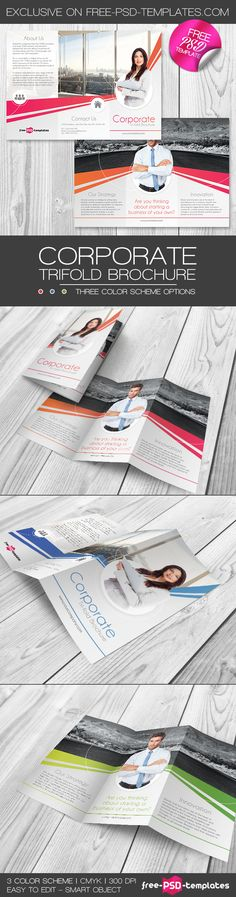 Bigpreview_corporate-free-psd-trifold-brochure-template => More at designresources.io Free Brochure, Brochure Template, Psd Templates, Flyer Template, Booklet Template