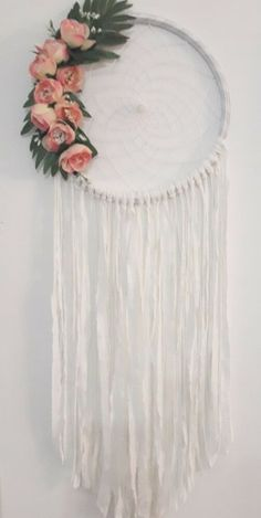Dreamcatcher , dream catcher, dreamcatcher white, dreamcatcher wall hanging Dream Catcher Decor, Dreamcatchers, Artificial Flowers, Pale Pink, Decorating Your Home, Artisan, Etsy, White Dreamcatcher, Create