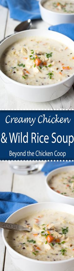 This creamy chicken and wild rice soup is so comforting and delicious.