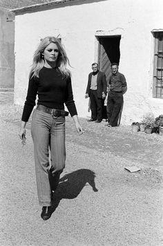 Brigitte Bardot on the set of Shalako 1968