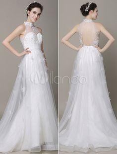 Elfenbein Hochzeit Kleid Ausschnitt Applique Perlen Sash Brautkleid - Milanoo.com