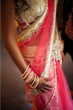 I have this pink lengha sari, good enough for engagement, not good enough for a reception