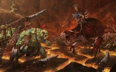 Seraphon vs Bonesplitterz, par (auteur inconnu), in Age of Sigmar, par Games Workshop Dragon Age Origins, Warhammer Fantasy, Warhammer 40k Art, Total Warhammer, Age Of Sigmar, Fantasy Battle, Fantasy Rpg, Medieval, Science Fiction Art