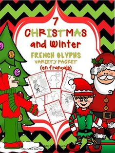 7 Christmas and Winter French Glyphs Variety Packet (en français):  Includes glyphs for a snowman, mitten, and gingerbread man, among others.  Student sheets in French; teacher's notes in English. $