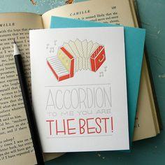 Accordion To Me Letterpress Card