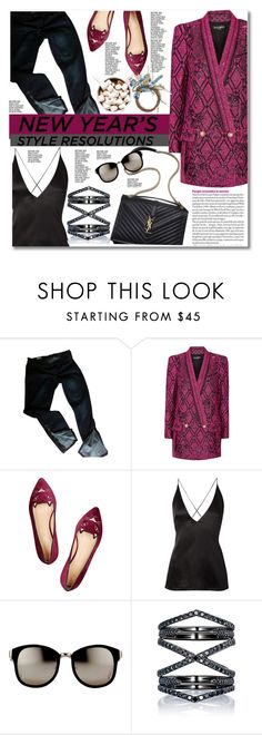"""New Year's Style Resolution: Be Bold"" by hafsahshead ❤ liked on Polyvore featuring Gap, Balmain, Charlotte Olympia, Dion Lee, Fergie, Linda Farrow and Eva Fehren"
