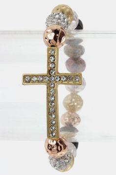 Lovely Crystal Cross Stretch Bracelet (Multi Beads) - $19.00