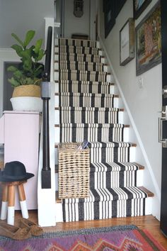 from our Mistakes when installing a Stair Runner How to avoid mistakes while installing a stair running with Mistake Mistake(s) may refer to: Staircase Runner, Carpet Runner On Stairs, Stair Carpet, Striped Carpet For Stairs, Runners For Stairs, Hallway Carpet, White Stairs, Farmhouse Stairs, Rustic Basement