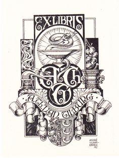 Andre Vlaanderen Ex Libris, Scratchboard, Typography, Lettering, Dutch Artists, Ink Illustrations, Letterhead, Retro, Libra