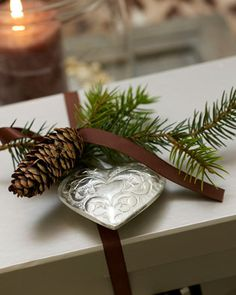 wrapping: ornament, pine cone, evergreen sprig & ribbon #giftwrap