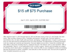Old Navy Printable Coupons: $15 off $75 (Printable) - Expires 4/24