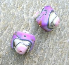 Lampwork Beads Handmade Pair of Chrystals from Pink by CandanImrak, $19.00