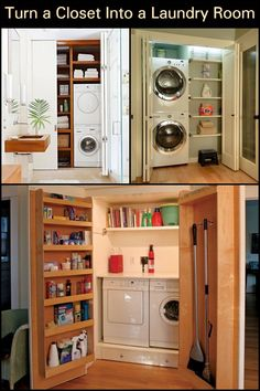 Maximize your space by hiding your laundry area in the closet. Hidden Laundry, Laundry Area, Laundry Room, Laundry Appliances, Home Appliances, Simple Life Hacks, Stacked Washer Dryer, Your Space, Space Saving