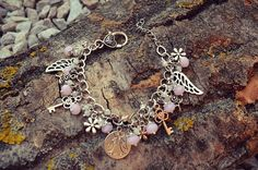 Pretty unique silver plated rose flower angel wing key charm bracelet with rondelle beads