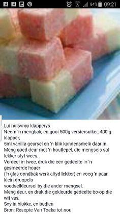 Klapperys Candy Recipes, Sweet Recipes, Dessert Recipes, Desserts, Kos, African Cake, South African Recipes, Fudge Brownies, Afrikaans