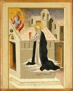 Saint Catherine of Siena Exchanging Her Heart with Christ by Giovanni di Paolo (Italian, Siena 1398-1482 Siena)