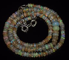 """48Ctw1Necklace 3.5to6 mm 16""""Beads Natural Genuine Ethiopian Welo Fire Opal R5901"""