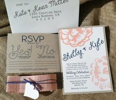 Modern Wedding Invitations  Peachy Keen Collection Peach & Navy, Flower, Rustic Burlap, Eco Friendly by kandvcrafts, $5.25