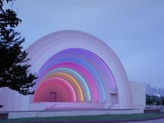 This is a beautiful lighting design of the fair park amphitheater band shell, Dallas, Texas  designed by GSR Andrade Architects.