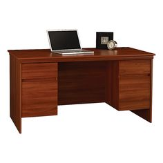 Ameriwood Westmont Collection Executive Desk 29 12 H x 59 W x 30 38 D Expert Plum by Office Depot
