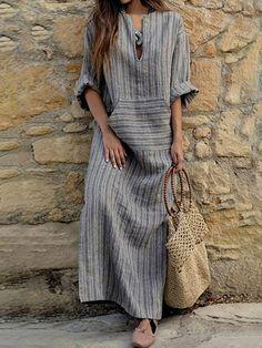 2018 Autumn Women Striped Dress Sexy V Neck Long Sleeve Maxi Long Dresses Vintage Casual Loose Plus Size Vestidos Linen Dresses, Women's Dresses, Vintage Dresses, Casual Dresses, Dresses Online, Fashion Dresses, Summer Dresses, Casual Outfits, Cotton Dresses