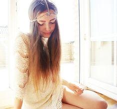 Kasia Gorol (Jestem Kasia) - Zara lace dress and Lady Tiger Flower Silver Hestia Head Piece from Love.
