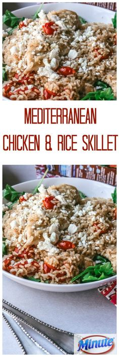 Mediterranean Chicken and Rice Skillet: Thanks to Minute® Rice, you can create an elegant, one pot chicken wonder. This skillet is brimming with flavor from garlic, white wine, fresh thyme, arugula, tomatoes, and feta cheese. HolidayswithMinute AD @minutericeUS