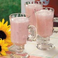 Creamy Strawberry Punch    Ingredients  4 cups cold milk  1 pint strawberry ice cream, softened  3/4 cup thawed lemonade concentrate  4 cups ginger ale, chilled  Directions  In a large pitcher or punch bowl, combine the milk, ice cream and lemonade concentrate until smooth. Stir in ginger ale; serve immediately. Yield: 12-14 servings.