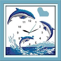Good Value Cross Stitch Kits Beginners Kids Advanced Blue Dolphins 11 CT 18X18 DIY Handmade Needlework Set CrossStitching Accurate Stamped Patterns Embroidery Home Decoration Frameless -- More info could be found at the image url.