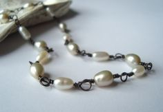 White Pearl and Antiqued Sterling Necklace - Frost by FuchsiaBloomStudioBridal for $40.00