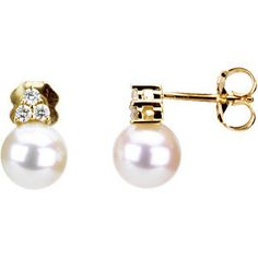 #67463, 14k Yellow Gold Freshwater Cultured Pearl and Diamond Earrings, Nathalie's Jeweler 936-242-3498