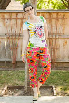 Desigual t-shirt, orange and pink floral capris, Eleanor Grosch parrot Keds.