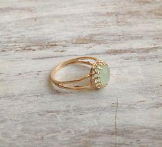 Gold ring gemstone ring jade ring stacking ring stackble by Avnis, $28.00