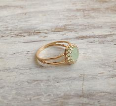 Gold ring gemstone ring jade ring stacking ring stackble by Avnis, $28.00