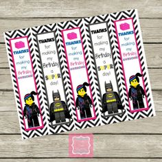 Lego Movie Wild Style Batman Birthday Thank You Bookmarks Cards Printable DIY Lego Instant Download