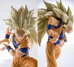 NEW hot 20cm dragon ball Super saiyan three Battle damage Edition Son Goku Kakarotto