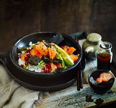 Salmon Sushi Salad - a homemade version of your favourite sushi platter, with edamame beans, avocado and pomegranate seeds