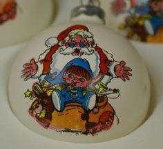 "4 Vintage TG&Y Christmas Satin Sheen Ball Ornaments  - ""Santa Surprise"" - RARE!!"