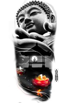 Ideas For Tattoo Designs Arm Flowers Japanese Tattoo Designs, Japanese Sleeve Tattoos, Tattoo Sleeve Designs, Tattoo Designs Men, Tatto Skull, Buda Wallpaper, Buda Tattoo, Buddha Flower, Temple Tattoo