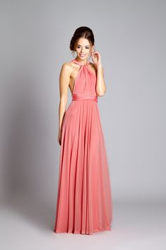 In One Clothing Coral halter neck Bridesmaid Dress
