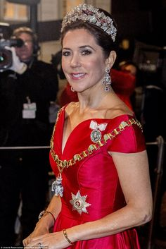 Crown Princess Mary of Denmark looked absolutely breathtaking in a crimsom coloured gown and a glittering tiara as she attended a traditio. Princesa Mary, Mary Donaldson, Danish Royalty, Modern Princess, Danish Royal Family, Royal Dresses, Royal Jewelry, Jewellery, Crown Princess Mary