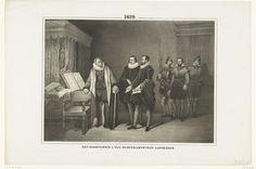 Anonymous | Oldenbarnevelt verneemt zijn doodvonnis, 1619, Anonymous, Willem Hendrik Schmidt, 1853 - 1855 | Johan van Oldenbarnevelt verneemt van de gerechtsambtenaren Van Leeuwen en Sylla dat zijn doodvonnis de volgende dag voltrokken zal worden, 12 mei 1619. Staande bij een tafel met boeken, geleund op zijn stok en met zijn hand op de rug van zijn stoel.