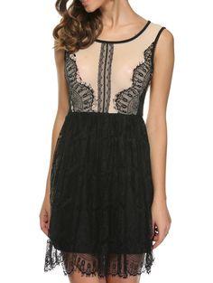 Brief Back Slit Lace Spliced Mini Ball Gown Dress