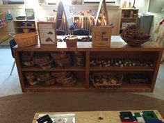 Block center stocked with natural wood to inspire children's building projects.
